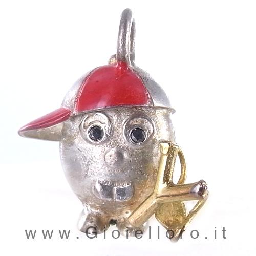 Ciondolo in argento e oro Pulci - Pulce Combinaguai