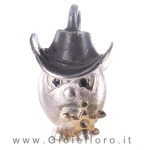 Ciondolo in argento e oro Pulci - Pulce Sheriff