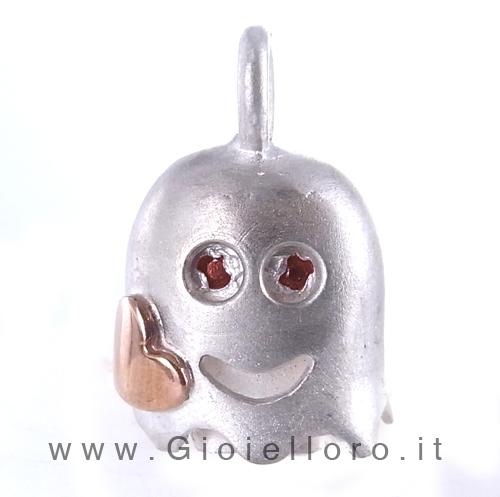 Ciondolo in argento e oro Pulci - Pulce Anti Spiritelli Maligni