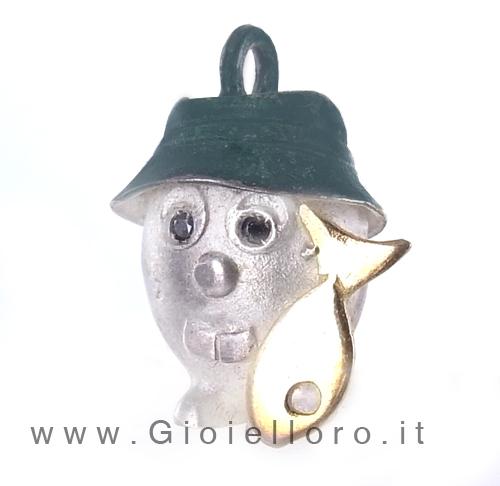 Ciondolo in argento e oro Pulci - Pulce Pescatore