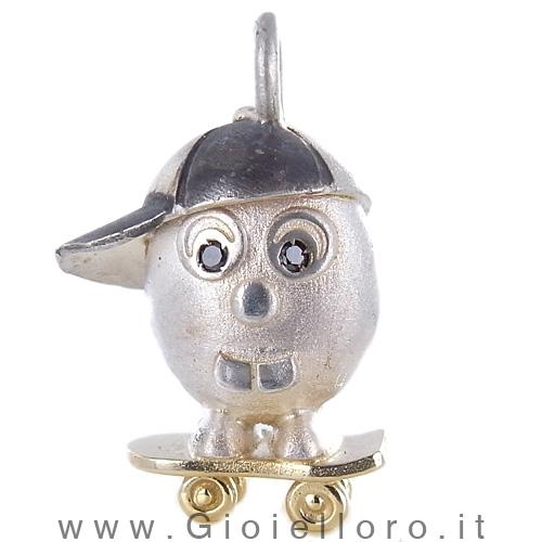 Ciondolo in argento e oro Pulci - Pulce Skeiter