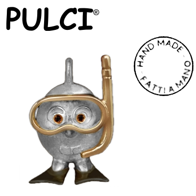 Ciondolo in argento e oro Pulci - Pulce Sub