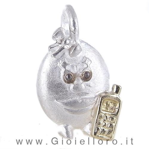 Ciondolo in argento e oro Pulci - Pulce Chiacchierona