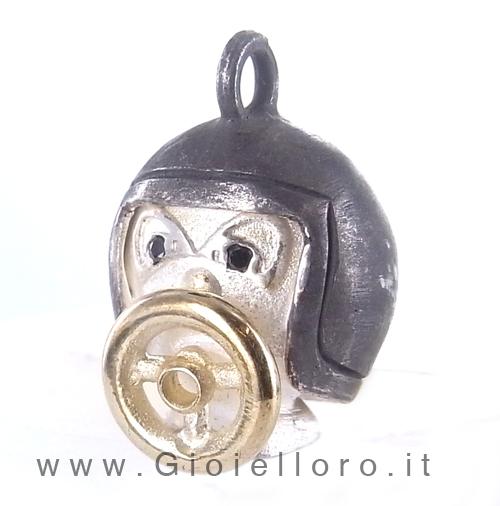 Ciondolo in argento e oro Pulci - Pulce in Pilota