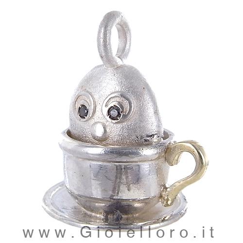 Ciondolo in argento e oro Pulci - Pulce in Tazza