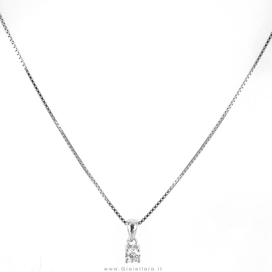 Ciondolo in argento punto luce con zircone 4 mm