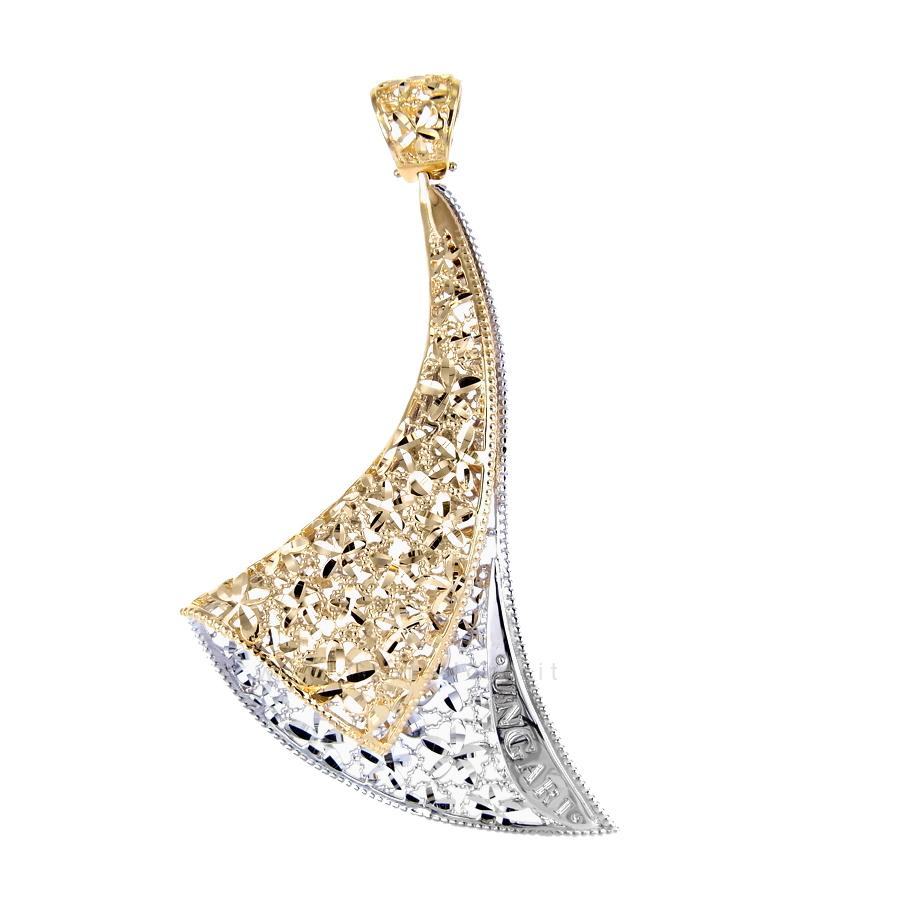 Ciondolo in oro due colori Lorenzo Ungari modello Ventaglio MAXI