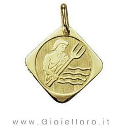 Ciondolo segno zodiacale in oro giallo ACQUARIO - Stella Milano