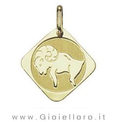 Ciondolo segno zodiacale in oro giallo ARIETE - Stella Milano