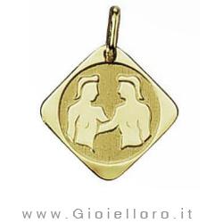 Ciondolo segno zodiacale in oro giallo GEMELLI - Stella Milano
