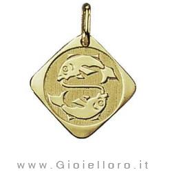 Ciondolo segno zodiacale in oro giallo PESCI - Stella Milano
