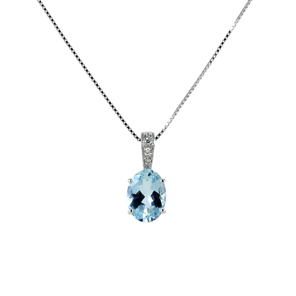 Colla con ciondolo Acquamarina Ovale ct 0.90 e Diamanti ct 0.02 G
