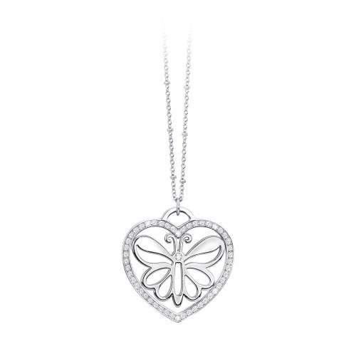 Collana 2Jewels donna CARPE DIEM in acciaio e cristalli - charm cuore e farfalla