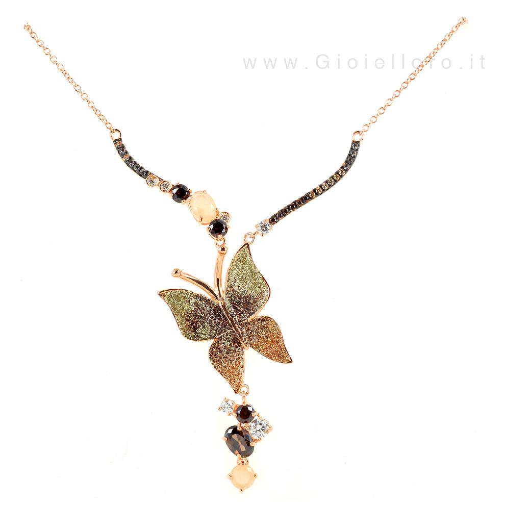 Collana Butterfly in argento e pietre preziose GIOIELLI SAMUI
