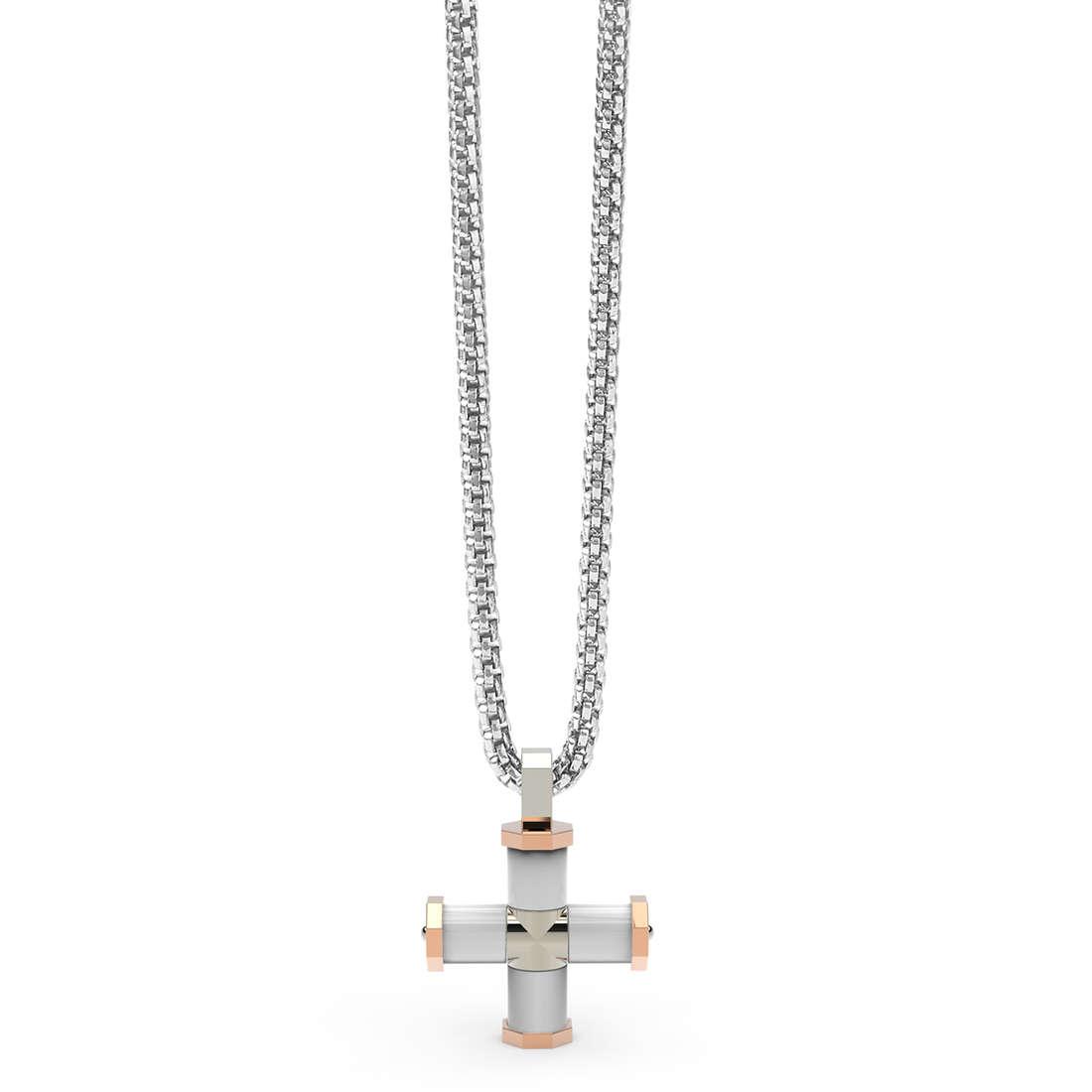 Collana Comete Gioielli da Uomo con ciondolo croce in acciaio e ceramica UGL 575