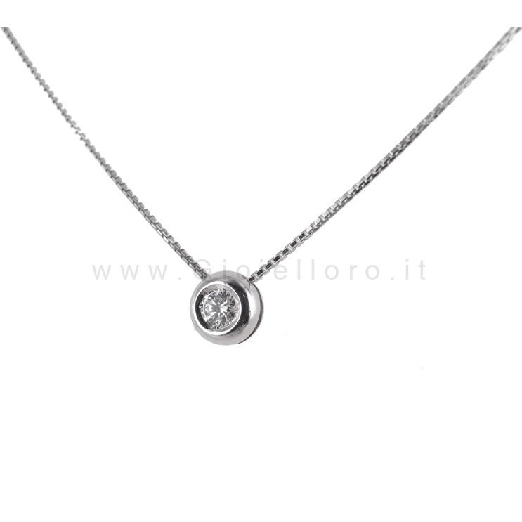 Collana Punto Luce Cipollina con diamante ct 0.09 G VVS Gioielli Marilyn