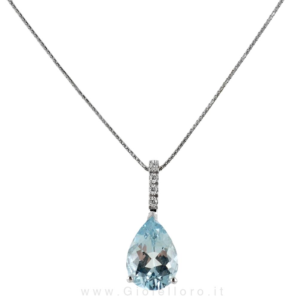 Collana con Acquamarina GOCCIA e diamanti Gioielli Valenza ct 1.60