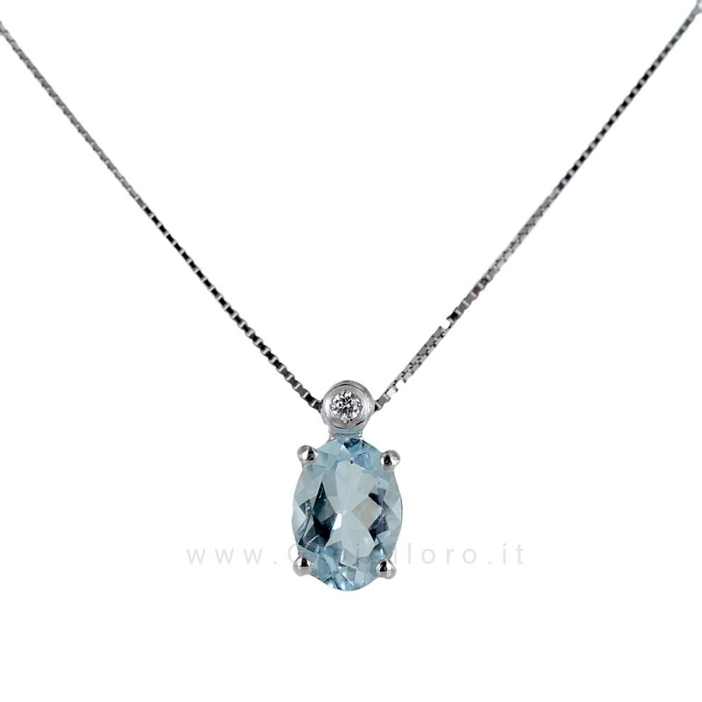 Collana con Ciondolo Acquamarina 0.60 e Diamante collezione Ingrid