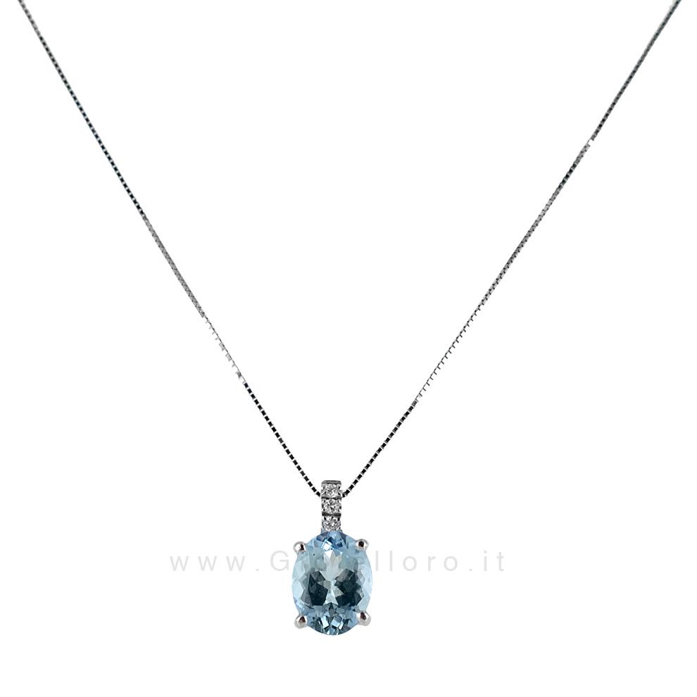 Collana con Ciondolo Acquamarina e Diamanti collezione Ingrid