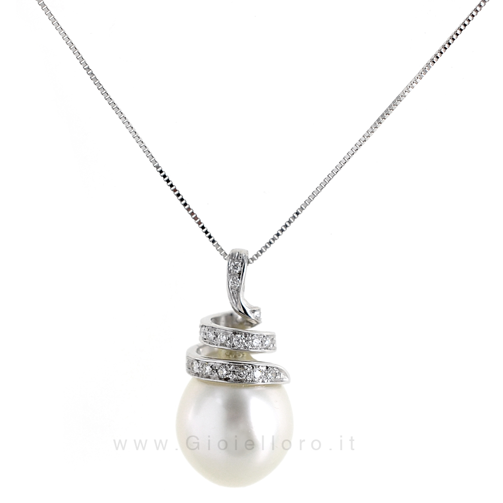 Collana con Ciondolo Perla Australiana 12 mm e diamanti