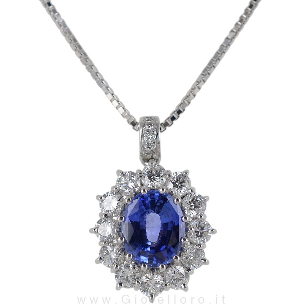 Collana con Ciondolo Zaffiro Rosetta e diamanti F VS