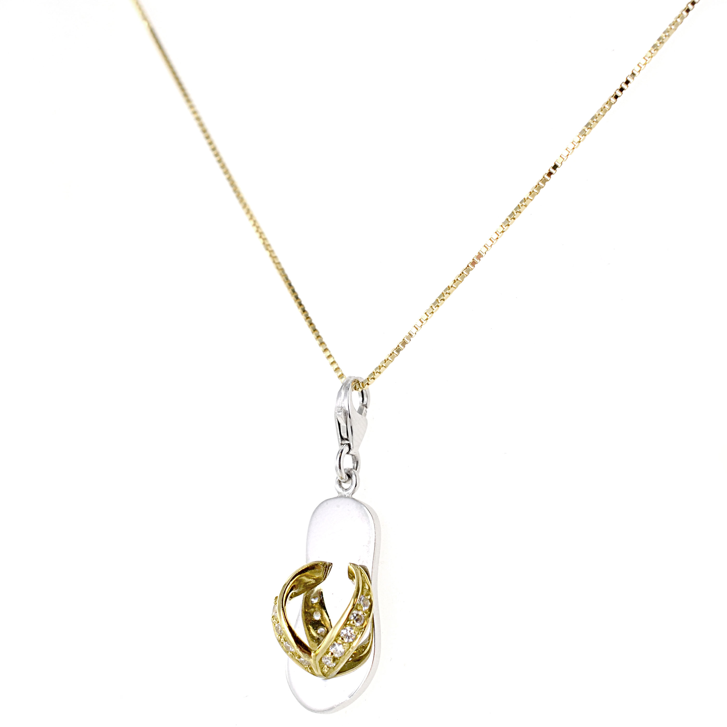 Collana con Ciondolo ciabattina infradito in oro e zirconi