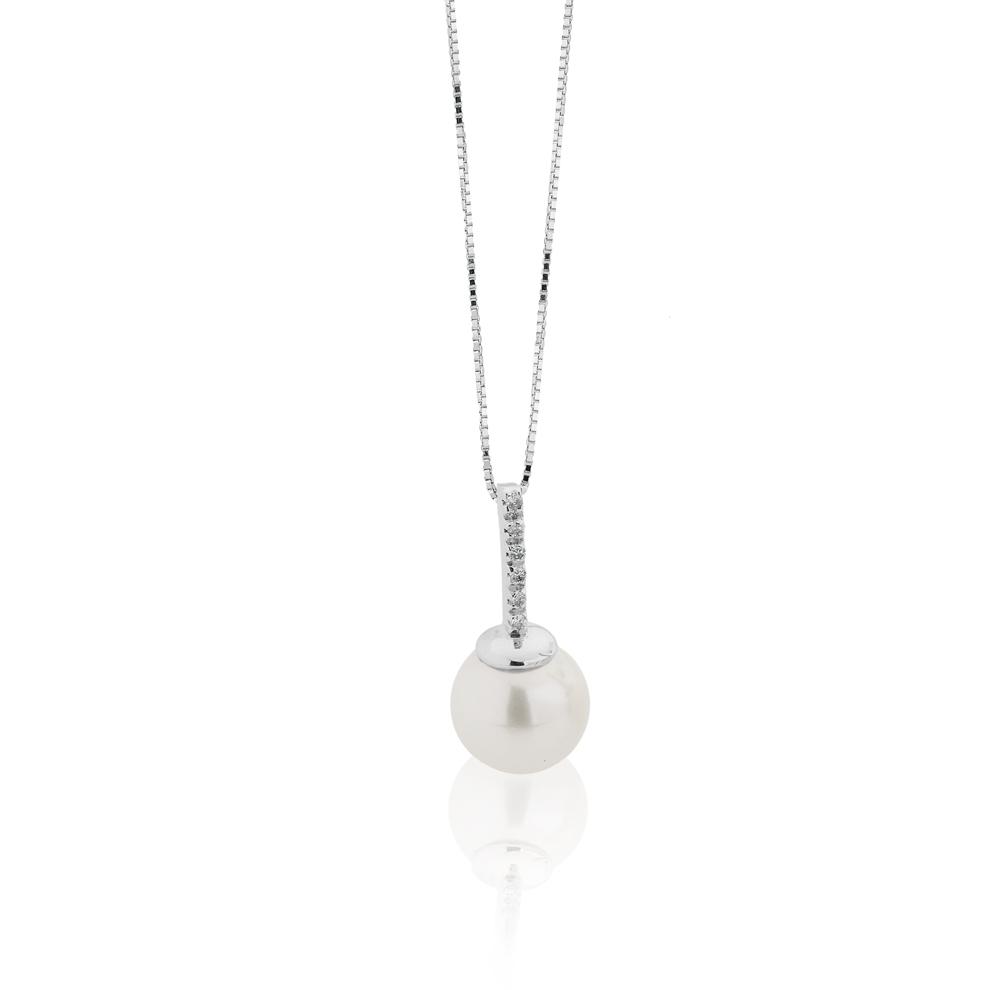 Collana con Perla Akoya 8 - 8,5 e Diamanti