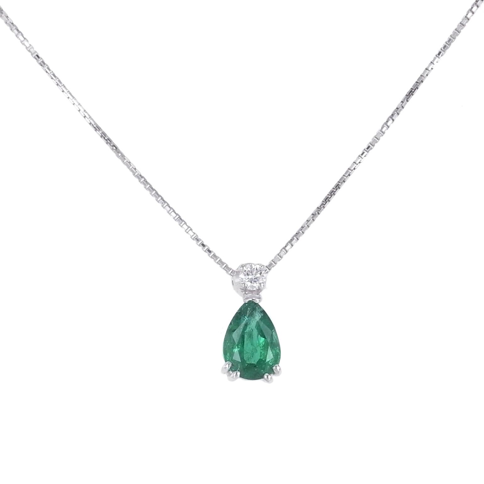 Collana con Smeraldo a Goccia e Diamante