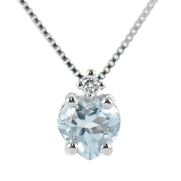 Collana con ciondolo Acquamarina Cuore e diamante