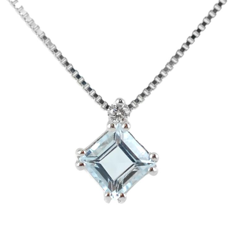 Collana con ciondolo Acquamarina Princess e diamante