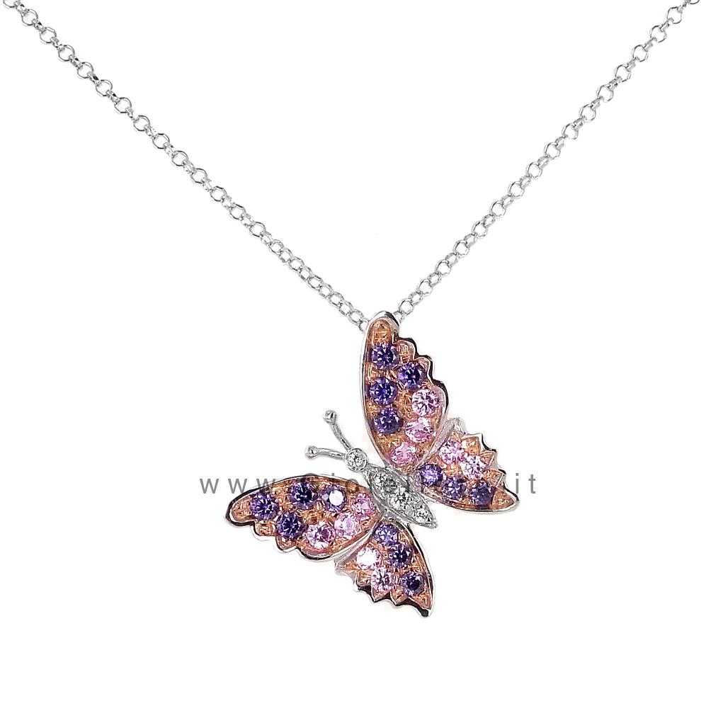 Collana con ciondolo Butterfly in argento e zirconi colorati - rosa e viola