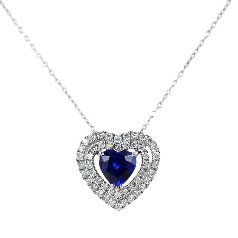 Collana con ciondolo Cuore Zaffiro 0.39 con doppio contorno di diamanti