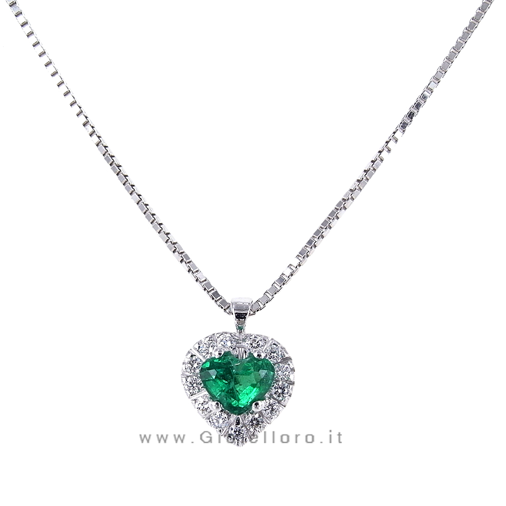 spesso Collana con ciondolo Cuore con diamanti e smeraldo | Gioielloro.it  VE23