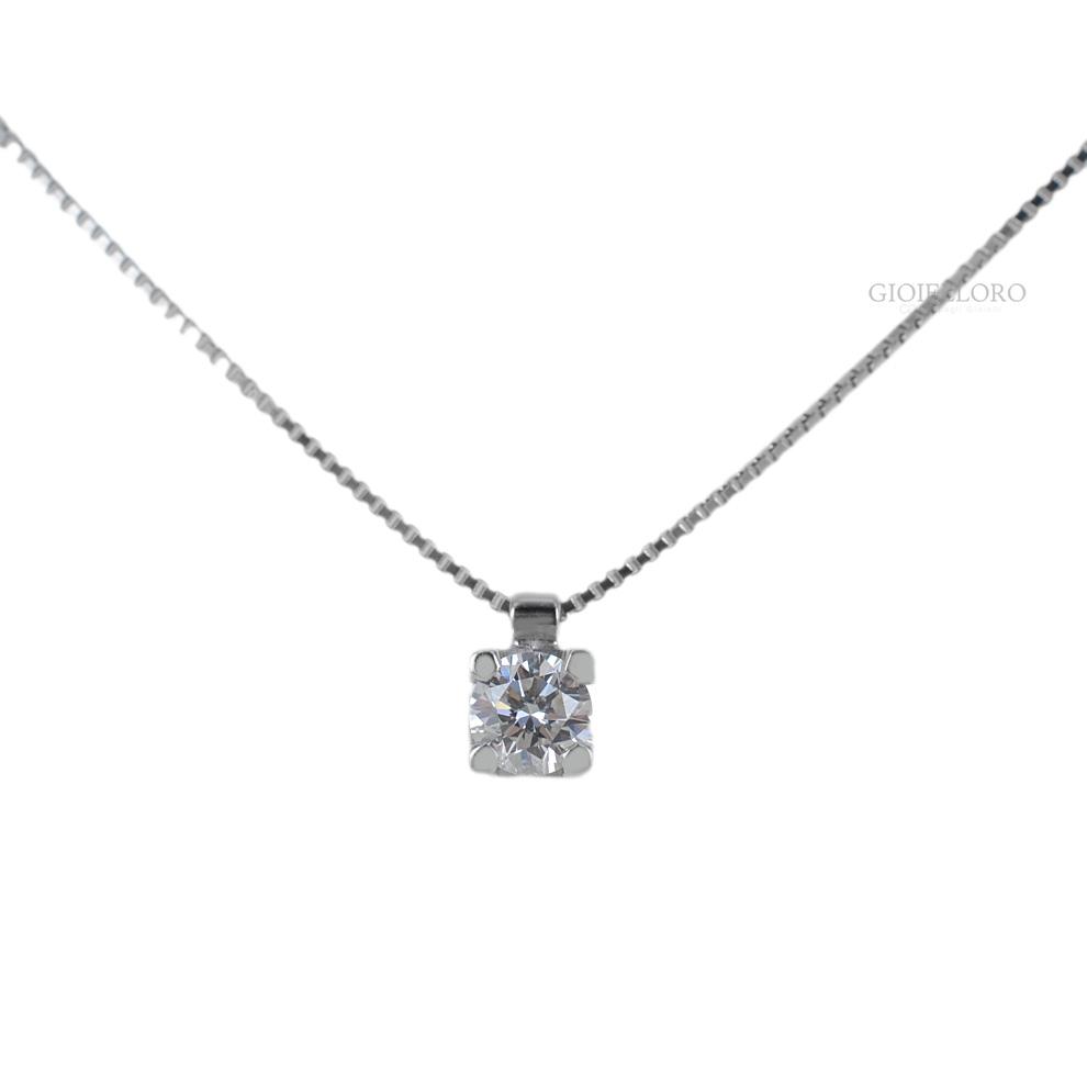 Collana con ciondolo Diamante punto luce carati 0.20 G IF