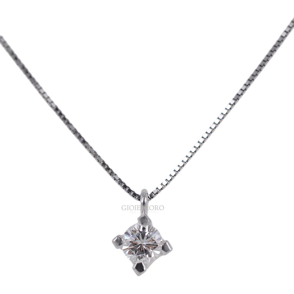Collana con ciondolo Diamante punto luce carati 0.25 G VS