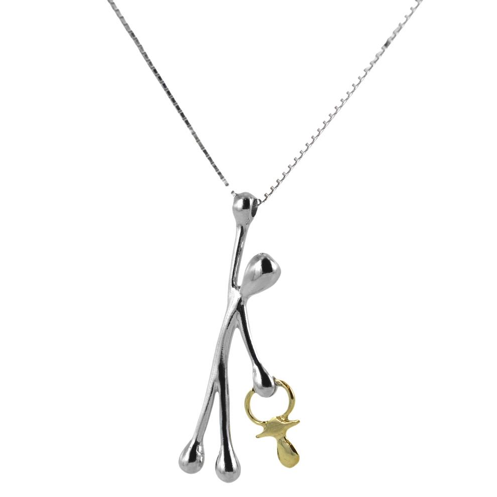 Collana con ciondolo Pensieri Felici in argento con ciuccio in oro GS1029
