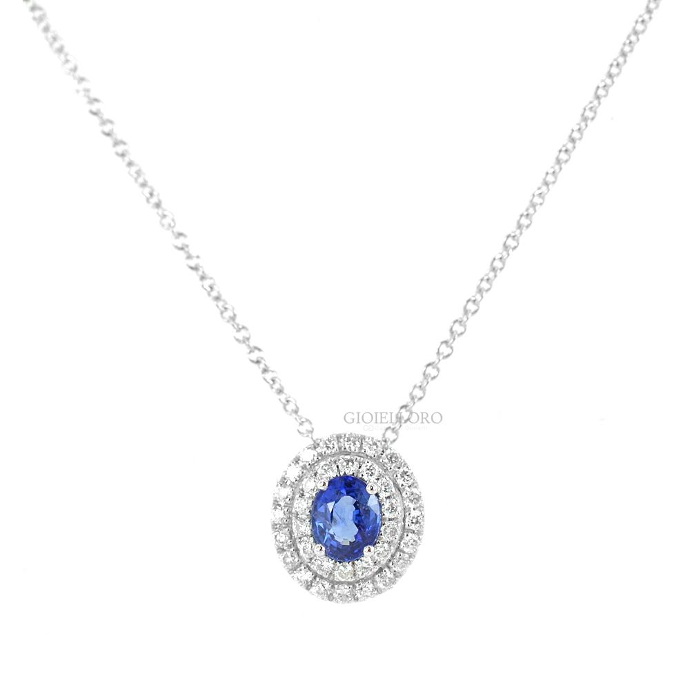 Collana con ciondolo Zaffiro ovale e diamanti doppio contorno Gioielli Valenza