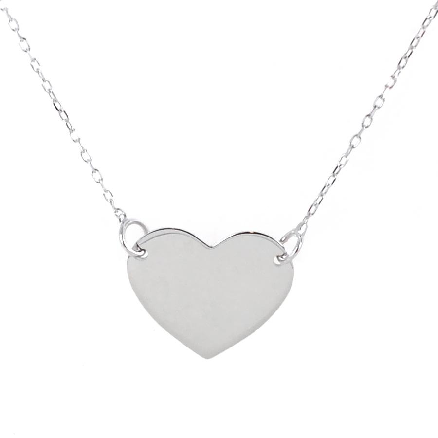 Collana con ciondolo cuore a lastra in oro bianco cuore medio