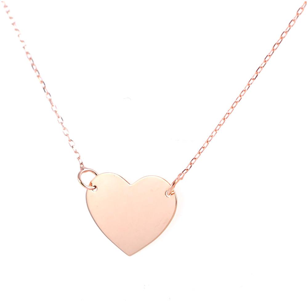 7fa10c6d78 Collana con ciondolo cuore a lastra in oro rosa | Gioielloro.it - La ...