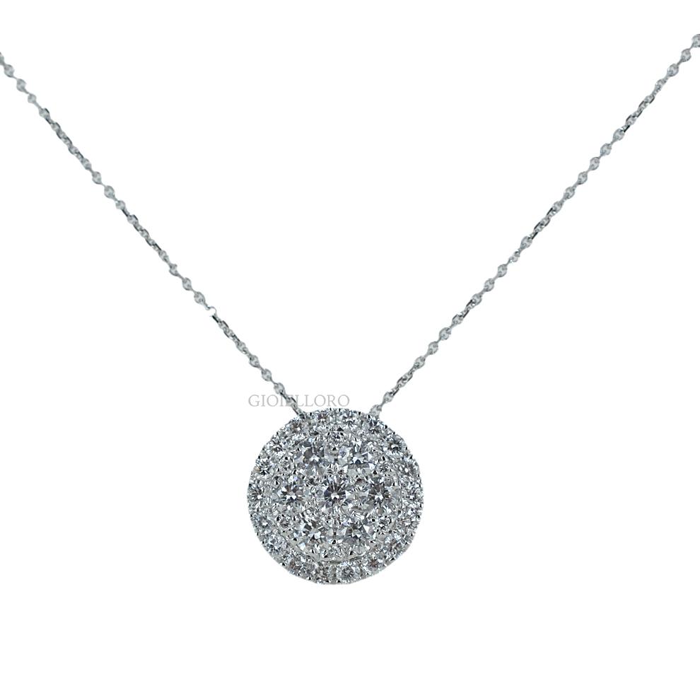 Collana con ciondolo effetto Punto Luce in oro con Diamanti ct 0.64 G SI