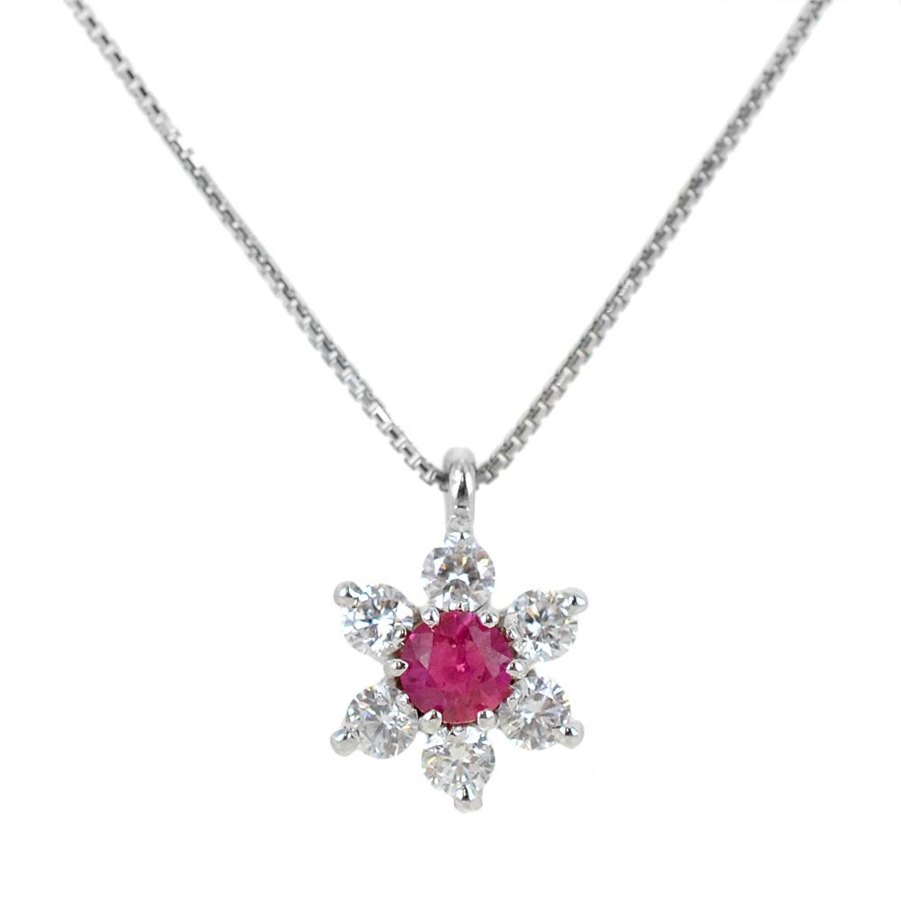 Collana con ciondolo stella con rubino e diamanti