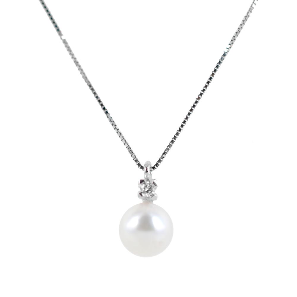 Collana con ciondolo perla Giapponese 6.50 mm e diamante