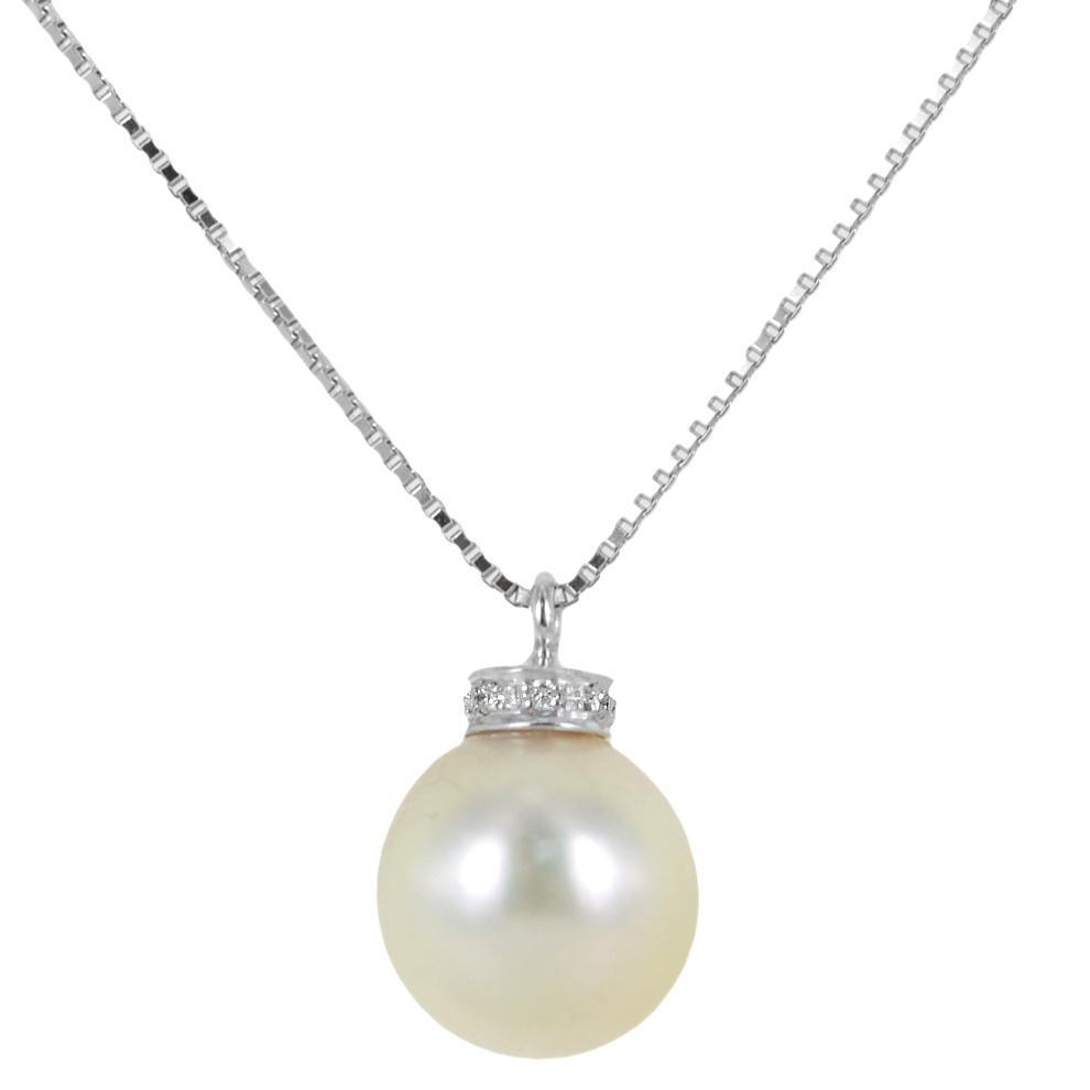 Collana con ciondolo perla Giapponese 8.50-9.00 mm e diamanti