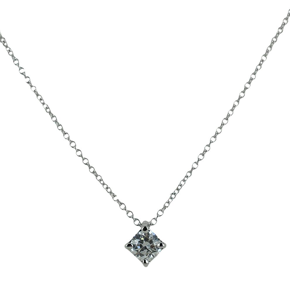 Collana con ciondolo punto luce in oro con diamante 0.29 G VS
