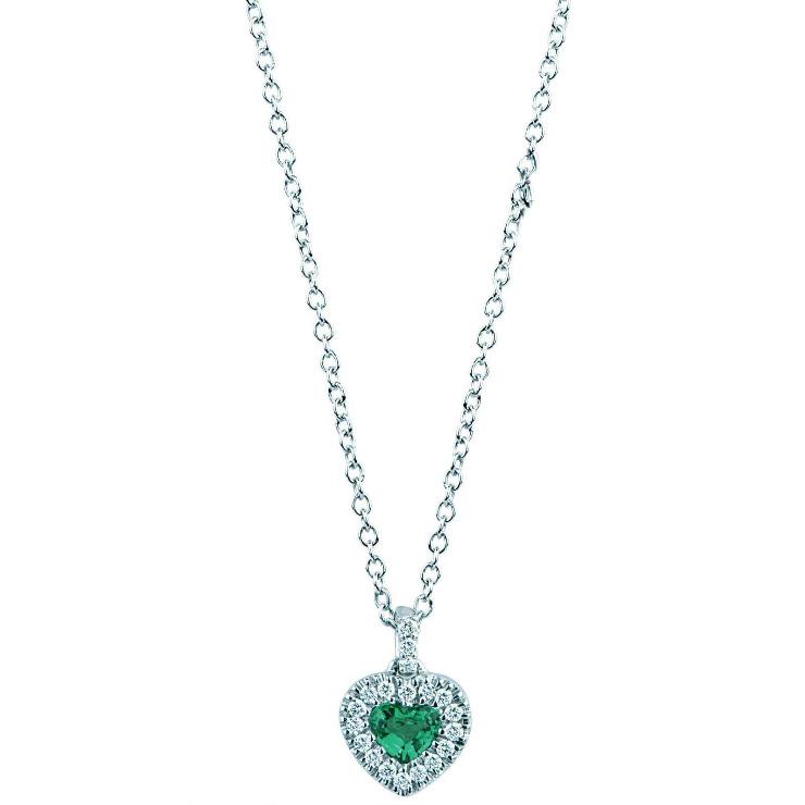 Collana con pendente Cuore Smeraldo e diamanti Gioielli Valenza