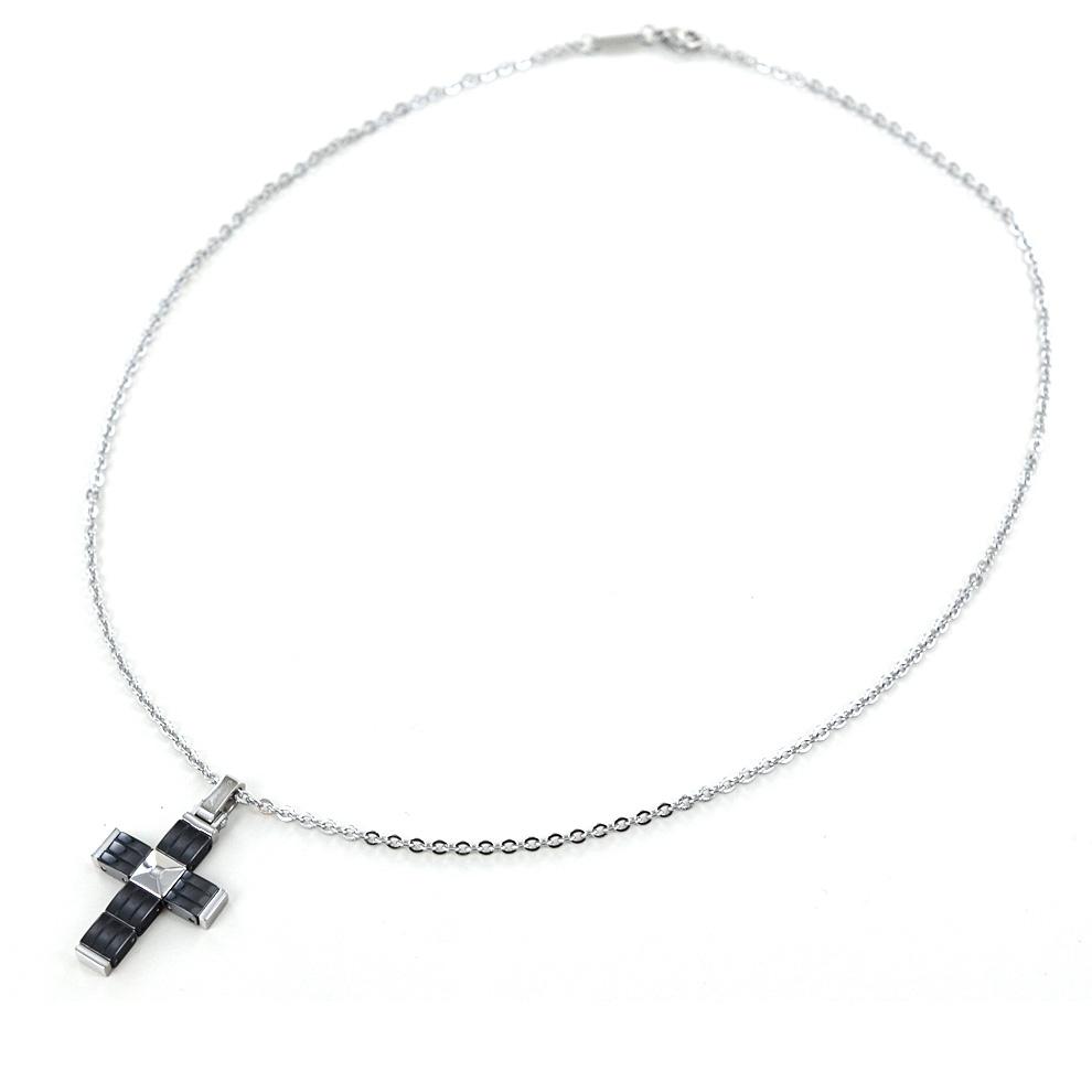 Collana da uomo Zancan in acciaio con pendente Croce in ceramica HITECK EHC123