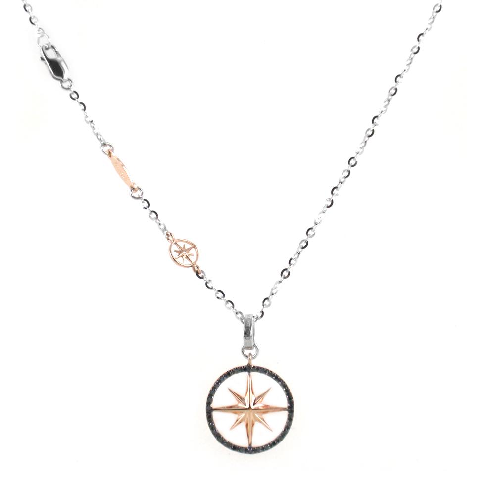 Collana da uomo Zancan in oro e diamanti neri con ciondolo Rosa dei Venti
