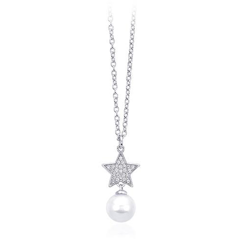 Collana donna Mabina in argento con ciondolo stella e perla