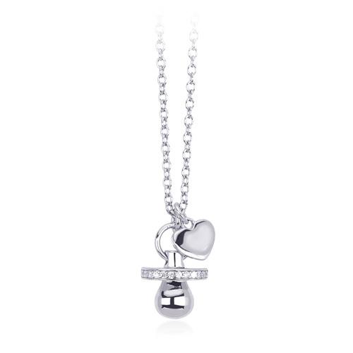 Collana donna Mabina in argento e zirconi ciuccio e cuore
