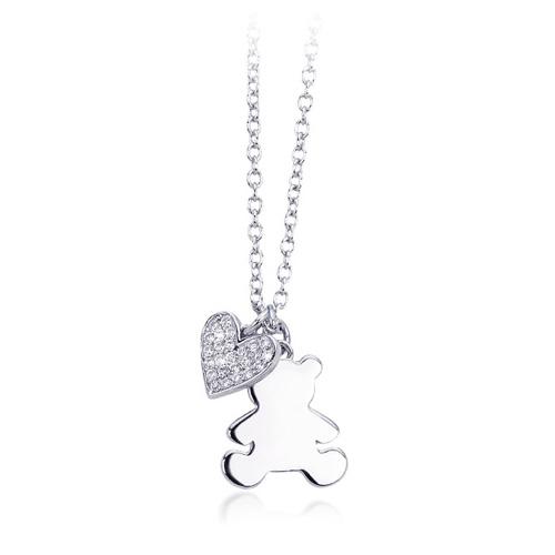 Collana donna Mabina in argento e zirconi orsetto